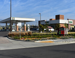 Outdoor image of 7-11 next to a gas station.