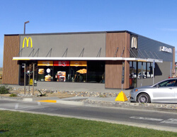 Outdoor image of McDonalds showing the main entrance.